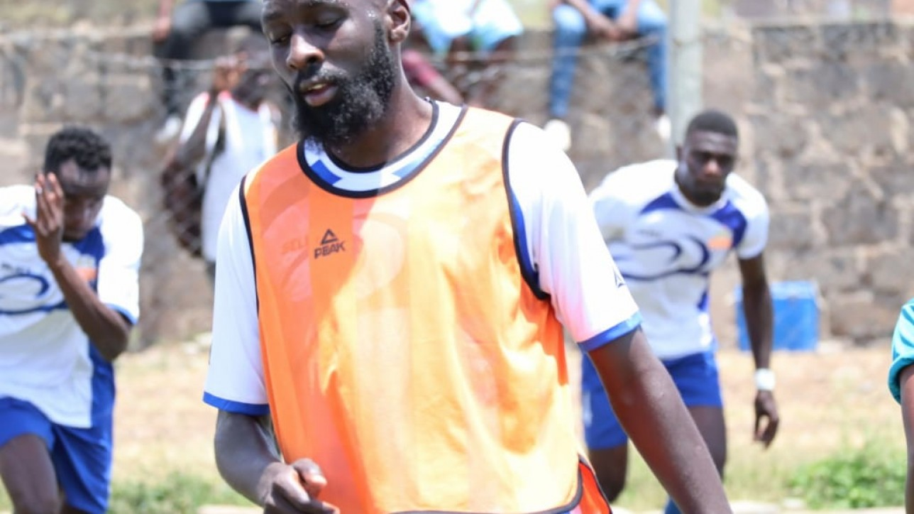 Defender Wycliffe Otieno in a past training session with. The club resumed training from Sat 4 January 2020 after a two weeks festive break