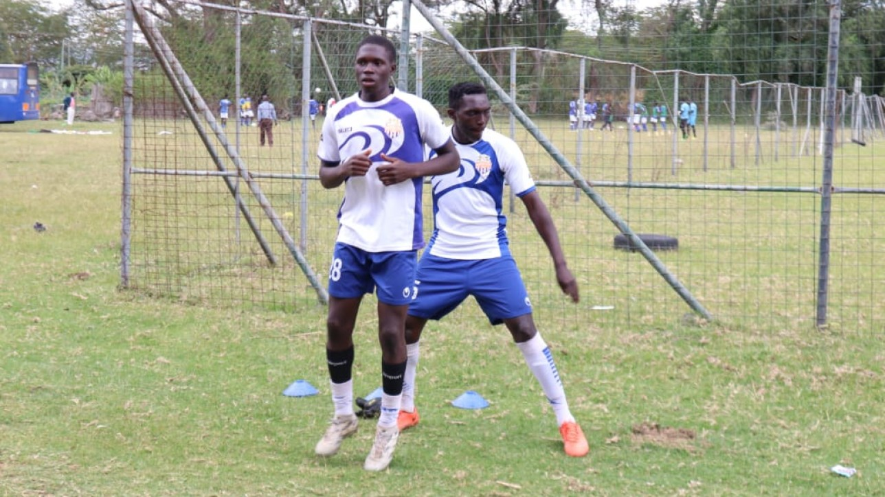Kevin Okumu preparing for a past game for City Stars in Karuturi, Naivasha in mid 2019