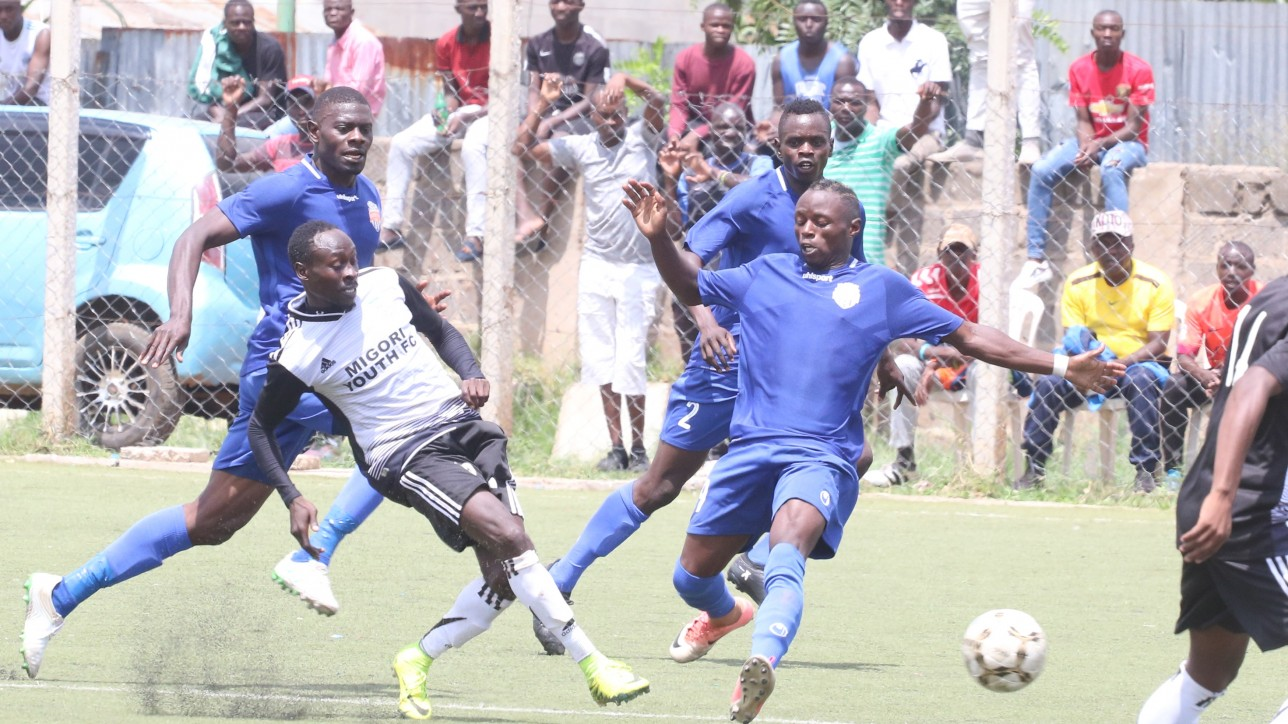Part of the action between City Stars and Migori Youth on Sat 2 Nov 2019. City Stars won the game 2-1