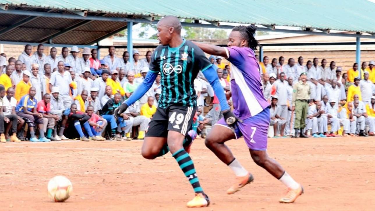 City Stars Heritier Luvualu challenges a player from Kamiti. Photo credit Man Devu