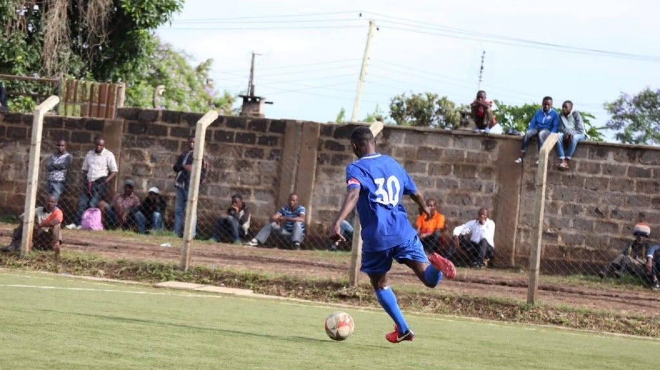 Anthony 'Muki' Kimani on his way to score the second goal against St. Joseph on Sun 1 Dec 2019 at Camp Toyoyo