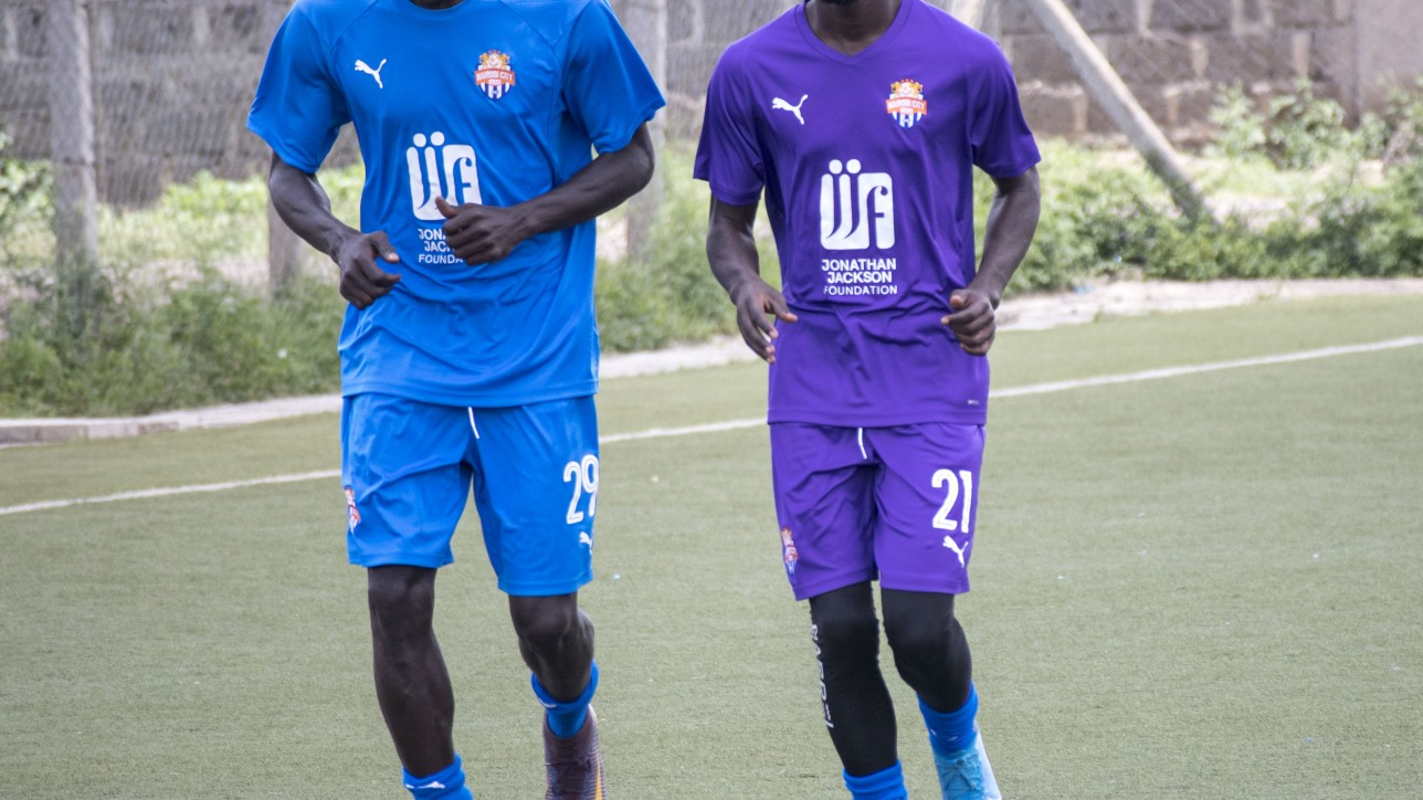 Ebrima Sanneh (No. 29), Oliver Maloba (No 21) during a training session in March 2020 at Camp Toyoyo