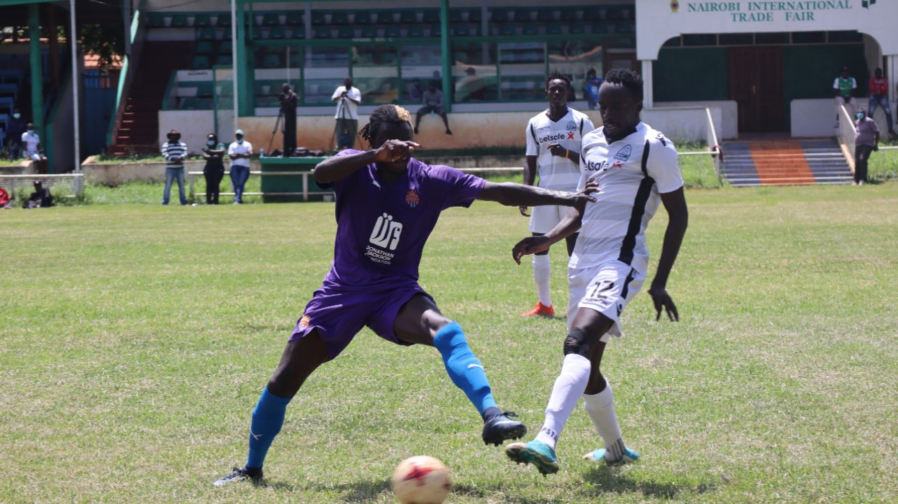 City Stars striker Davis Agesa goes for the ball against a Gor player during a friendly played at Jamhuri grounds on Sat 21 Nov 2020. The two teams tied 1-1