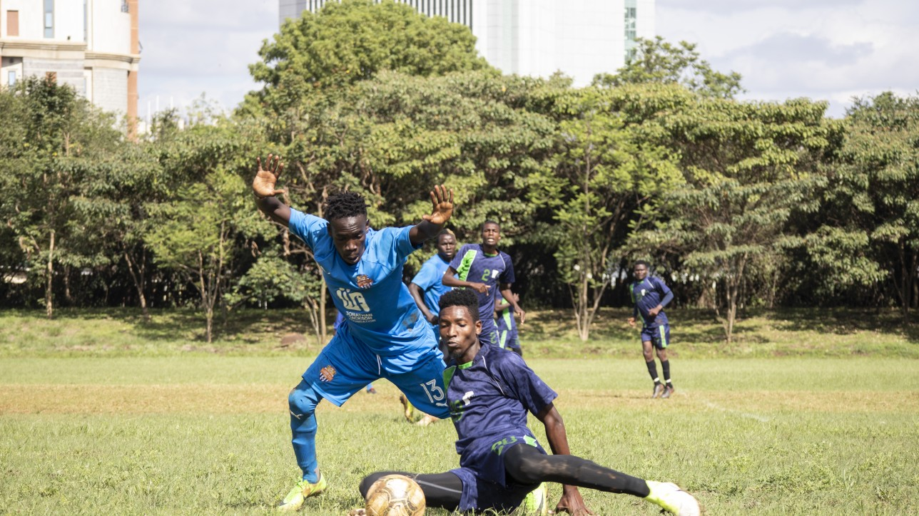 City Stars winger contests the ball with KCB's Martin Nderitu during a friendly on Wed 11 November 2020 at the Public Service Club. KCB won 1-0