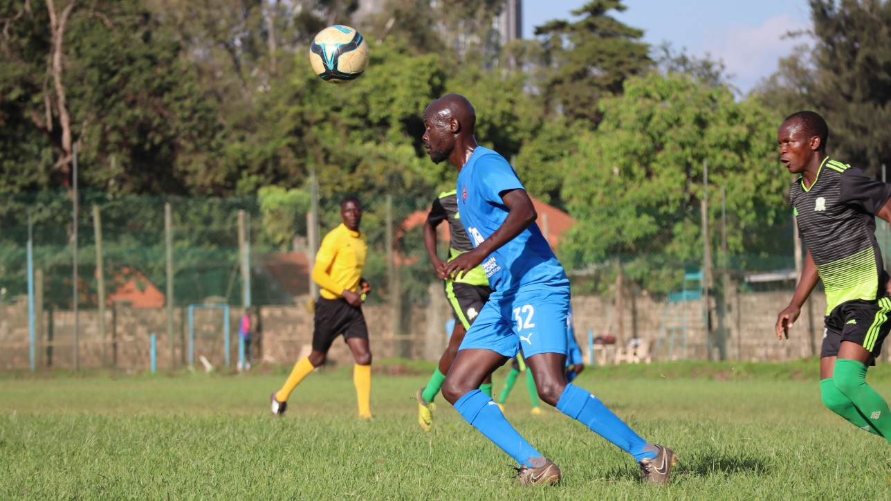 Ezekiel Odera in a duel with an Inter Base player during a friendly at the Public Service Club on Wednesday 11 November 2020. City Stars won 5-0. He scored City Stars last Premier League goal in 2016