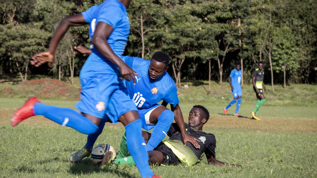 City Stars winger Azizi Okaka going for the ball in against an Inter base player a friendly on Wed 11 Nov 2020 at Public Service Club. City Stars won 5-0