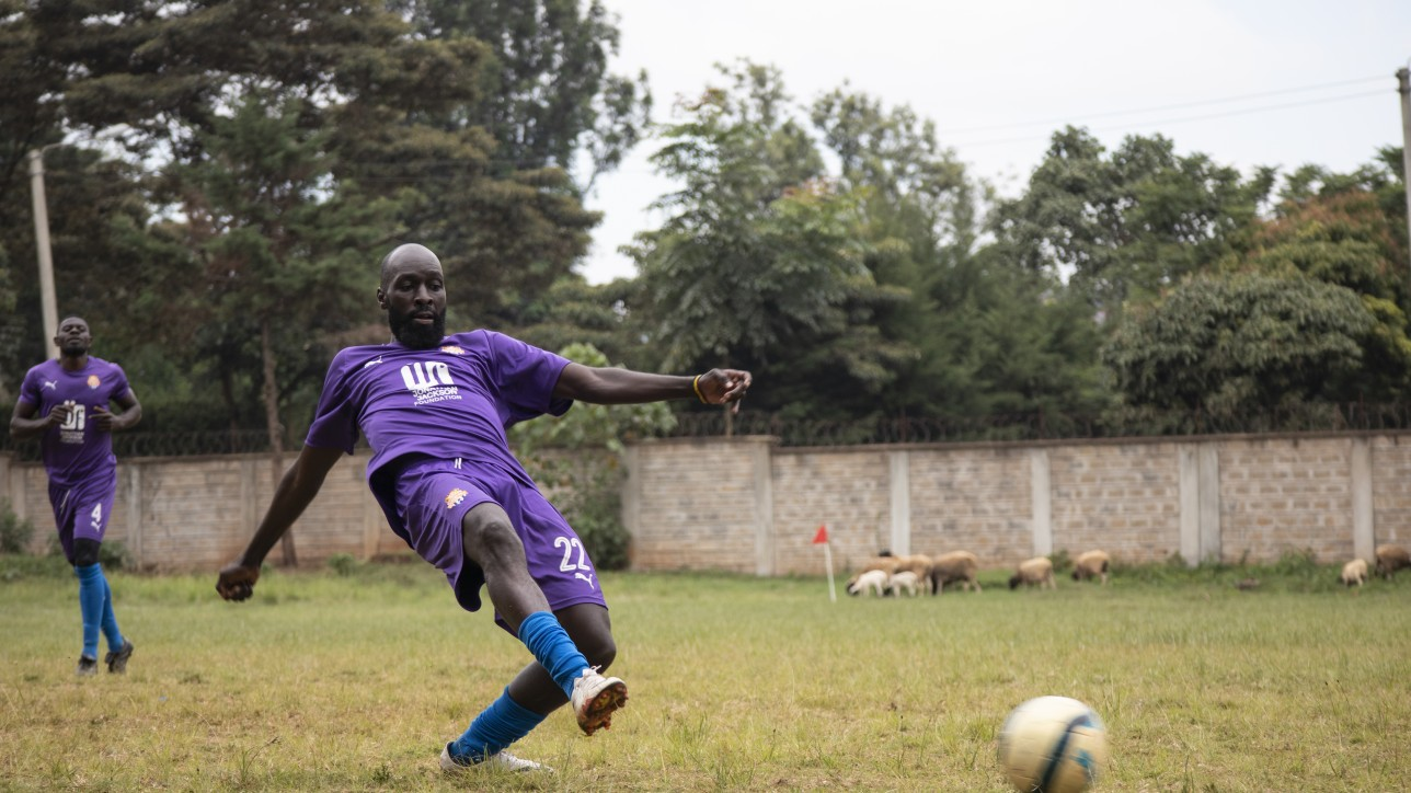 Wycliffe Otieno in a game against Mt. Kenya United at Dagoretti High on Sat 14 Nov 2020
