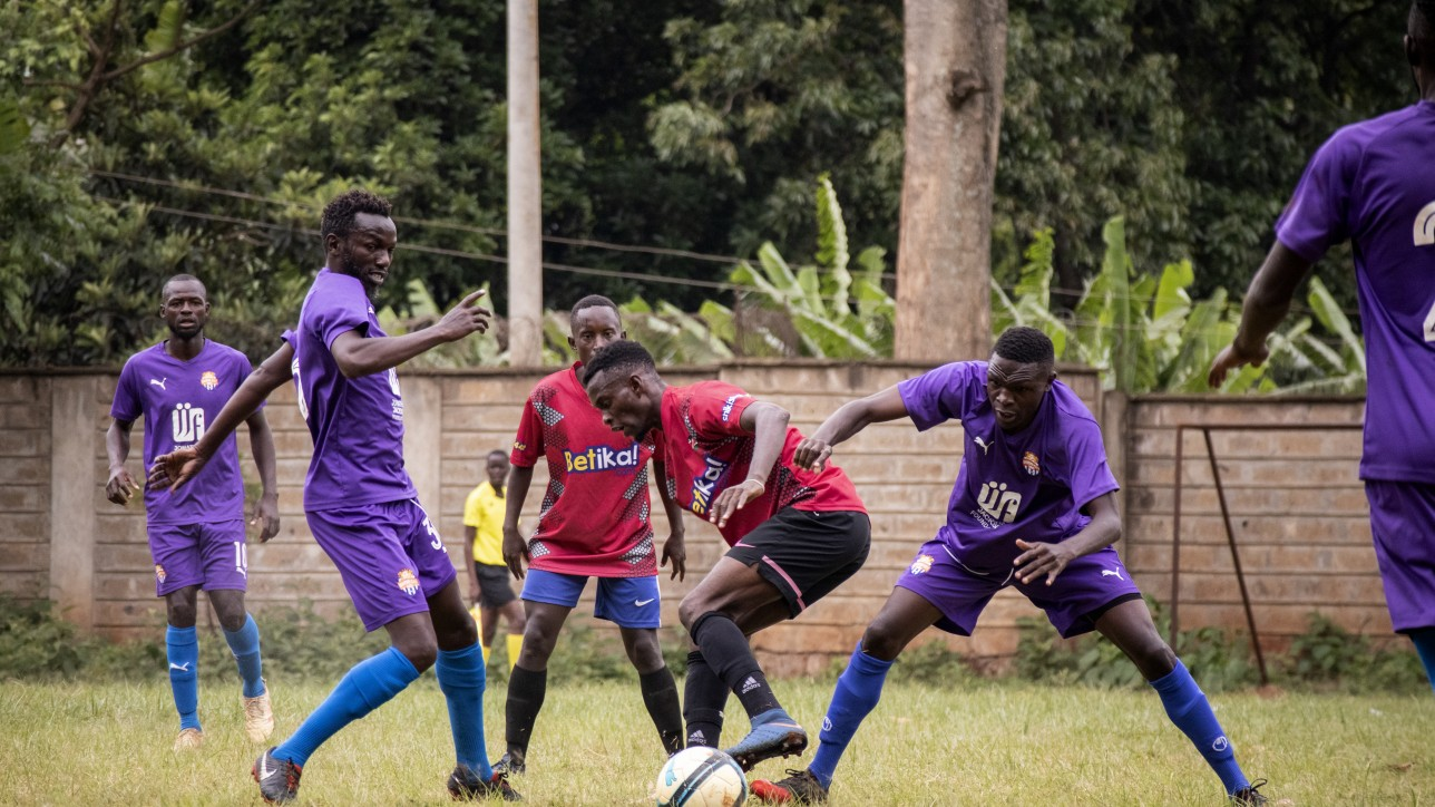Anthony Kimani, Sven Yidah contest a ball against Mt. Kenya United players at Dagoretti High on Sat 14 Nov 2020. It ended 1-1