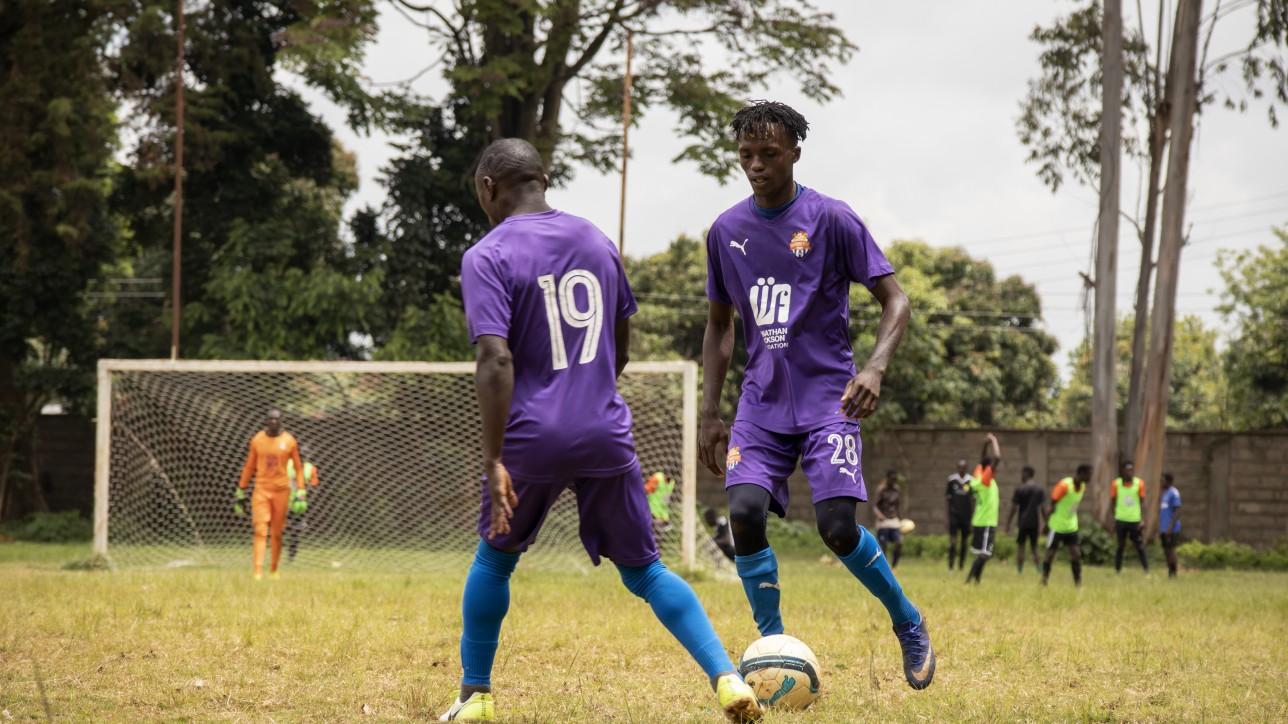 Herit Mungai (28), Jimmy Bageya (19) during a friendly against Mt. Kenya United on Sat 14 Nov 2020 at Dagoretti High. It ended 1-1