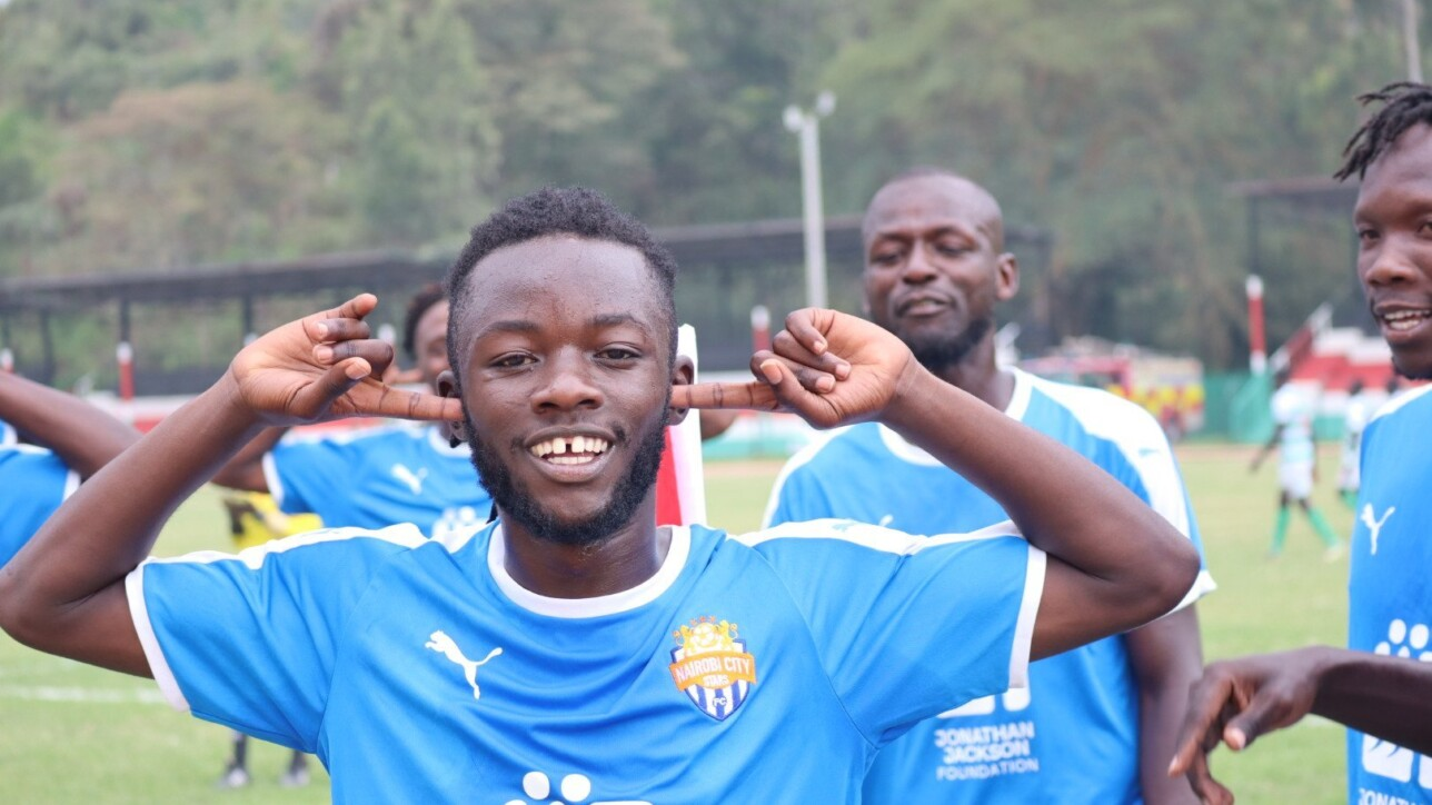 Oliver Maloba celebrates his goal, the second for City Stars in the season opening 2-0 win over Nzoia Sugar FC at Narok Stadium on Sun 29 Nov 2020