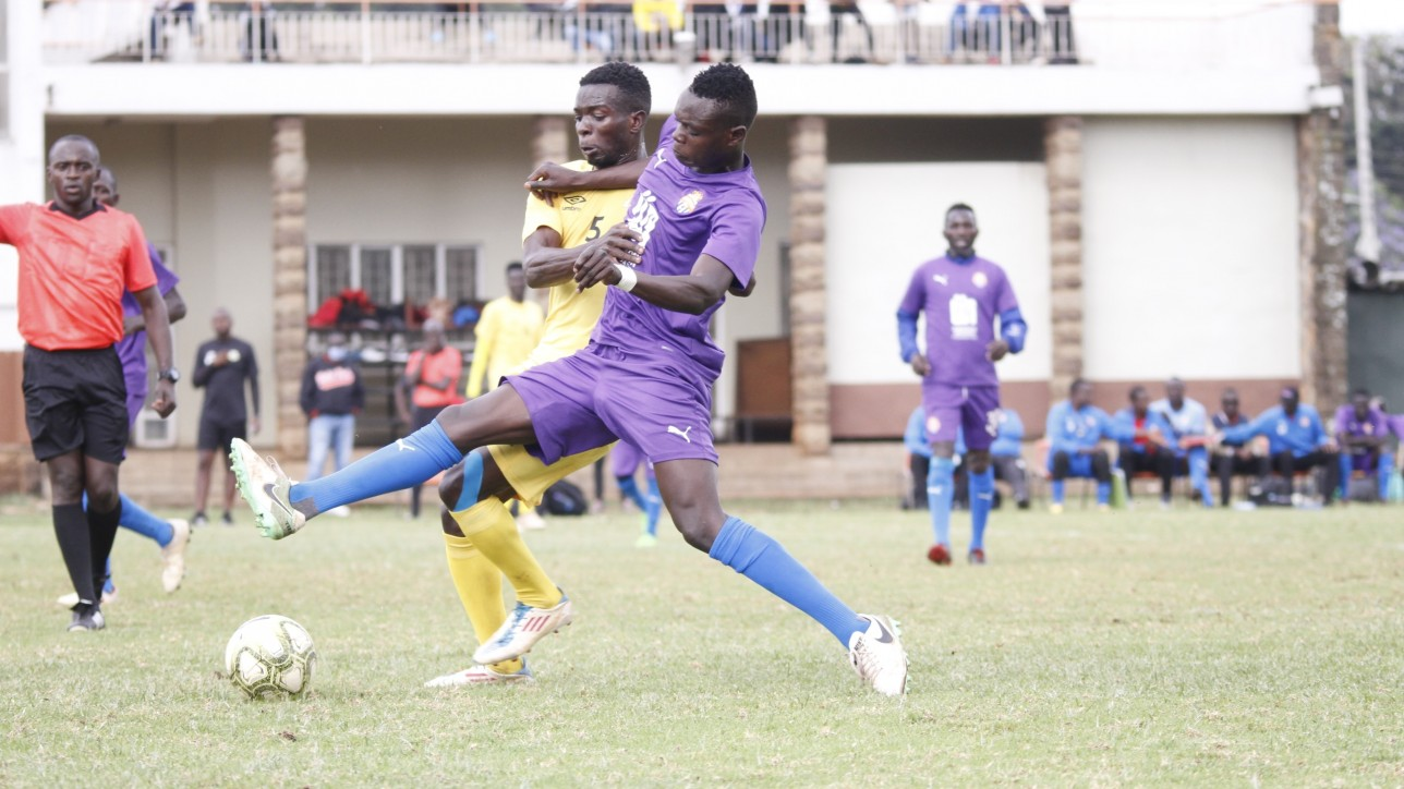 Timothy Ouma of City Stars challenging for the ball against a Sharks player during a friendly at Utalii on Sat 31 Oct 2020