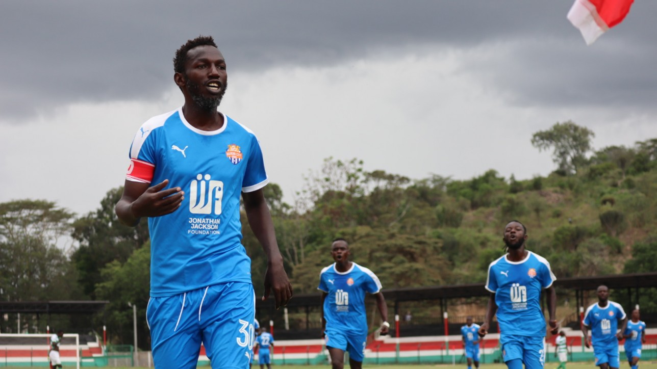 Anthony Muki Kimani celebrate his opening goal against Nzoia Sugar at Narok Stadium on Sun 29 Nov 2020. City Stars won 2-0