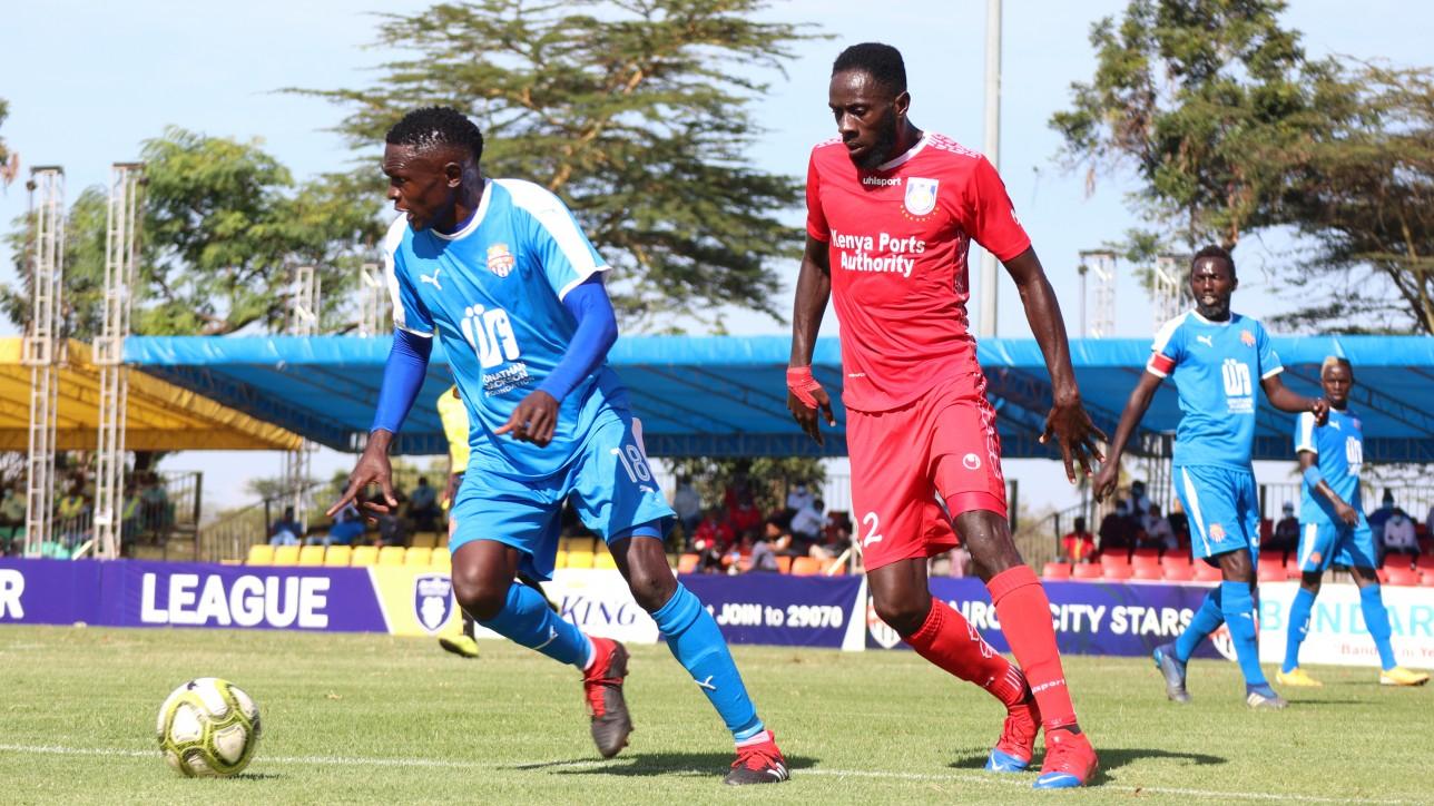 Sven Yidah up against Bandari's Collins Agade on Fri 11 Dec during FKF Premier League round 3 game at Kasarani. City Stars won 2-0