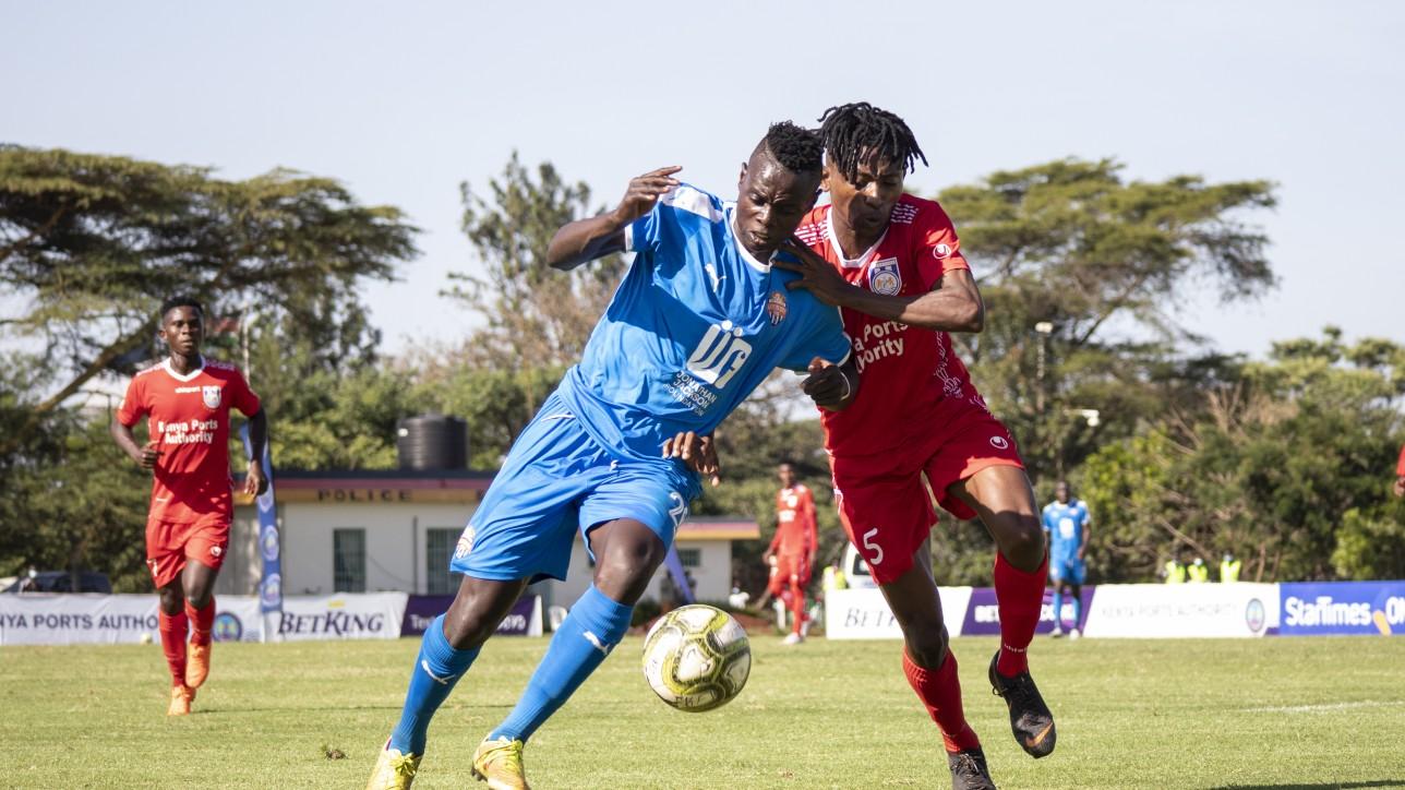 City Stars forward Timothy Ouma up against Bandari left back Siraj Mohammed during a 3rd round FKF PL match at Kasarani on Fri 11 Dec 2020. City Stars won 2-0