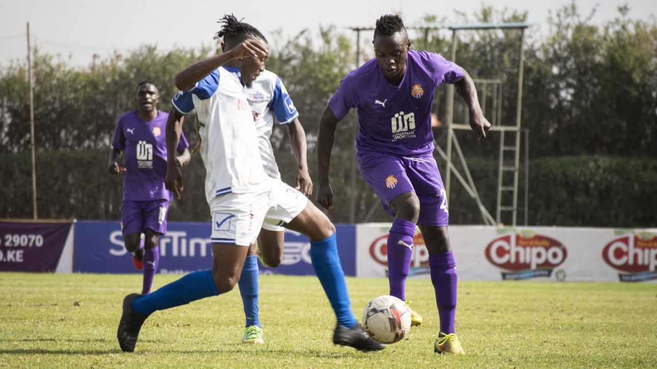 City Stars forward Timothy Ouma challenges Bidco United's Anthony Gathu in a premier league game on Thur 17 Dec 2020 at Utalii Grounds. It ended 0-0