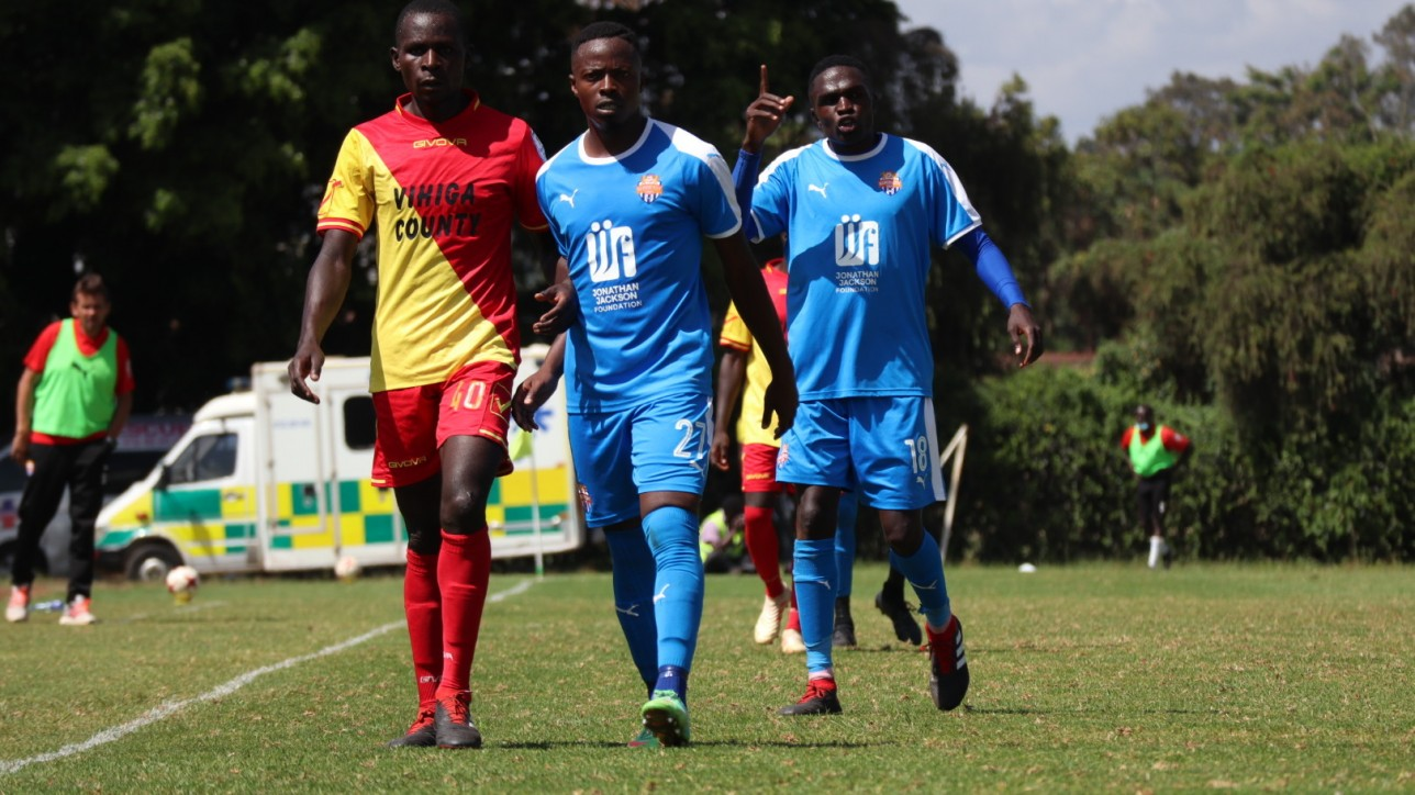 Nairobi City Stars shared spoils (1-1) with Vihiga United in a fifth round Premier League game on Wed 22 Dec 2020 at Utalii grounds. Pictured - goal scorer Sven Yidah (18)and Azizi Okaka (21)