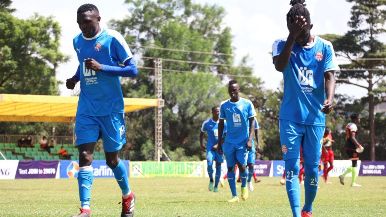 Nairobi City Stars shared spoils (1-1) with Vihiga United in a fifth round Premier League game on Wed 22 Dec 2020 at Utalii grounds. Pictured - goal scorer Sven Yidah and Oliver Maloba