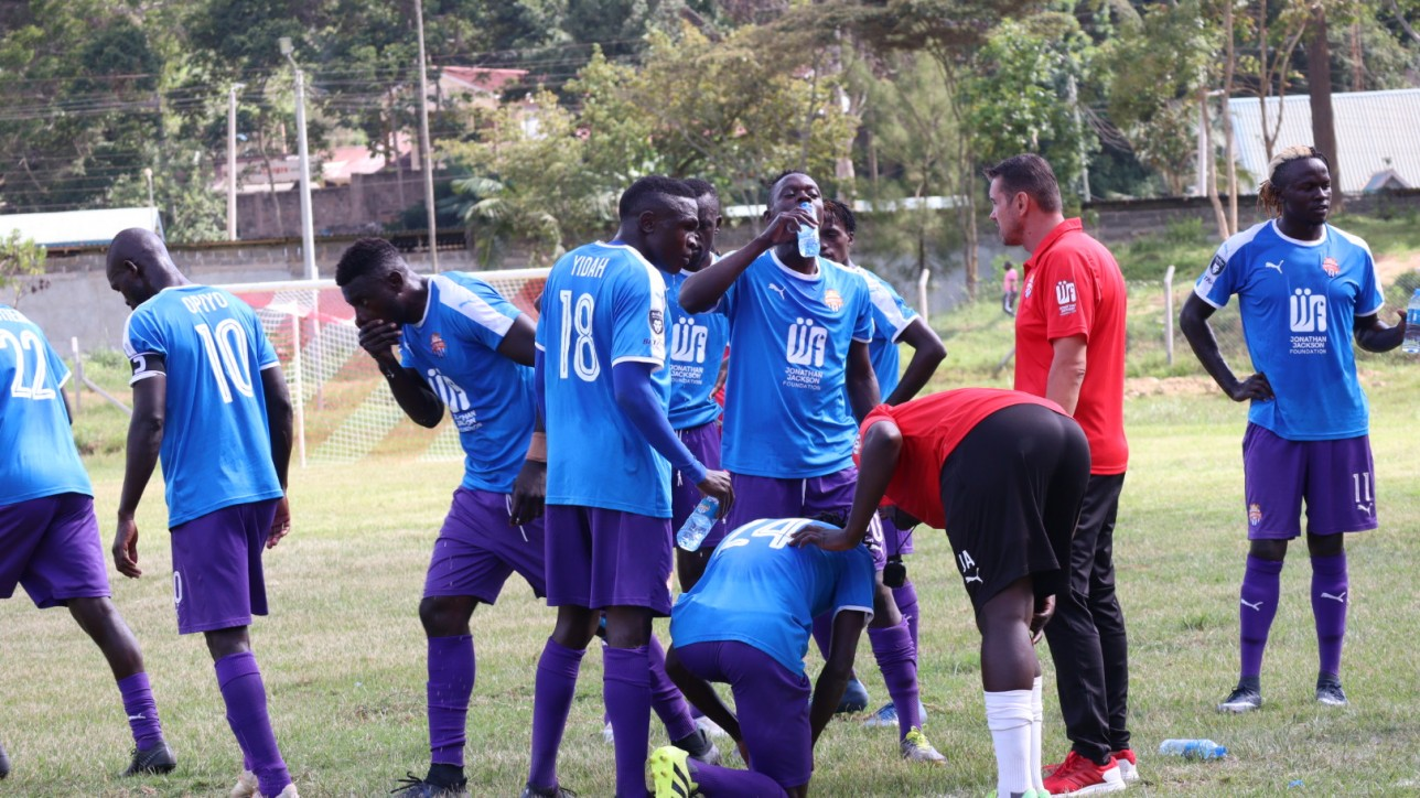 Coach Sanjin Alagic and his City Stars players at Wundanyi on Sat 23 Jan 2021 during a match day 9 against Sofapaka. The hosts won the game 1-0