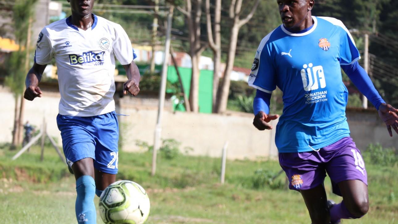 Sven Yidah takes on a Sofapaka player during a round 9 Premier League game played at Wundanyi Stadium on Sat 23 Jan 2021. Sofapaka won 1-0