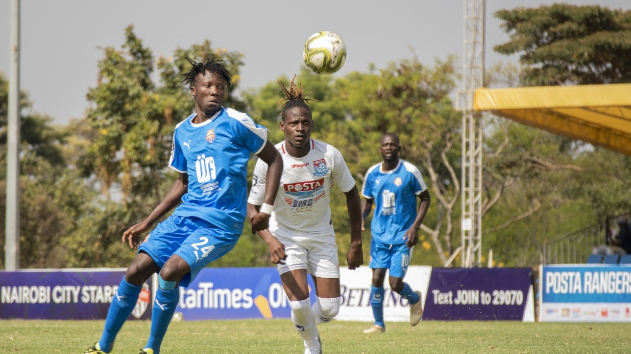 City Stars striker Erick Ombija goes for the ball in a 7th round Premier League tie against Posta Rangers at Kasarani on Fri 8 Jan 2021. The game ended 1-1