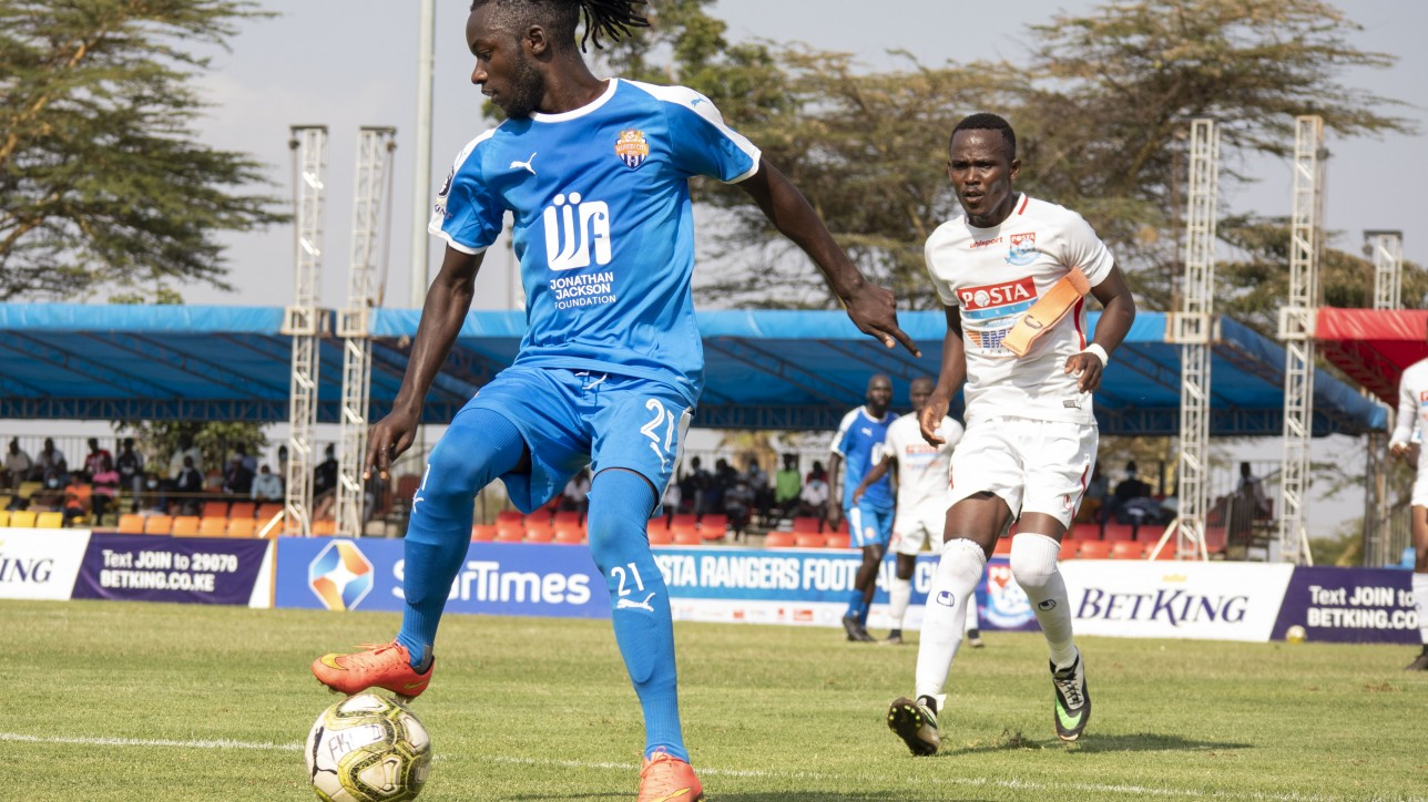 City Stars midfielder Oliver Maloba on the ball in a 7th round Premier League tie against Posta Rangers at Kasarani on Fri 8 Jan 2021. The game ended 1-1