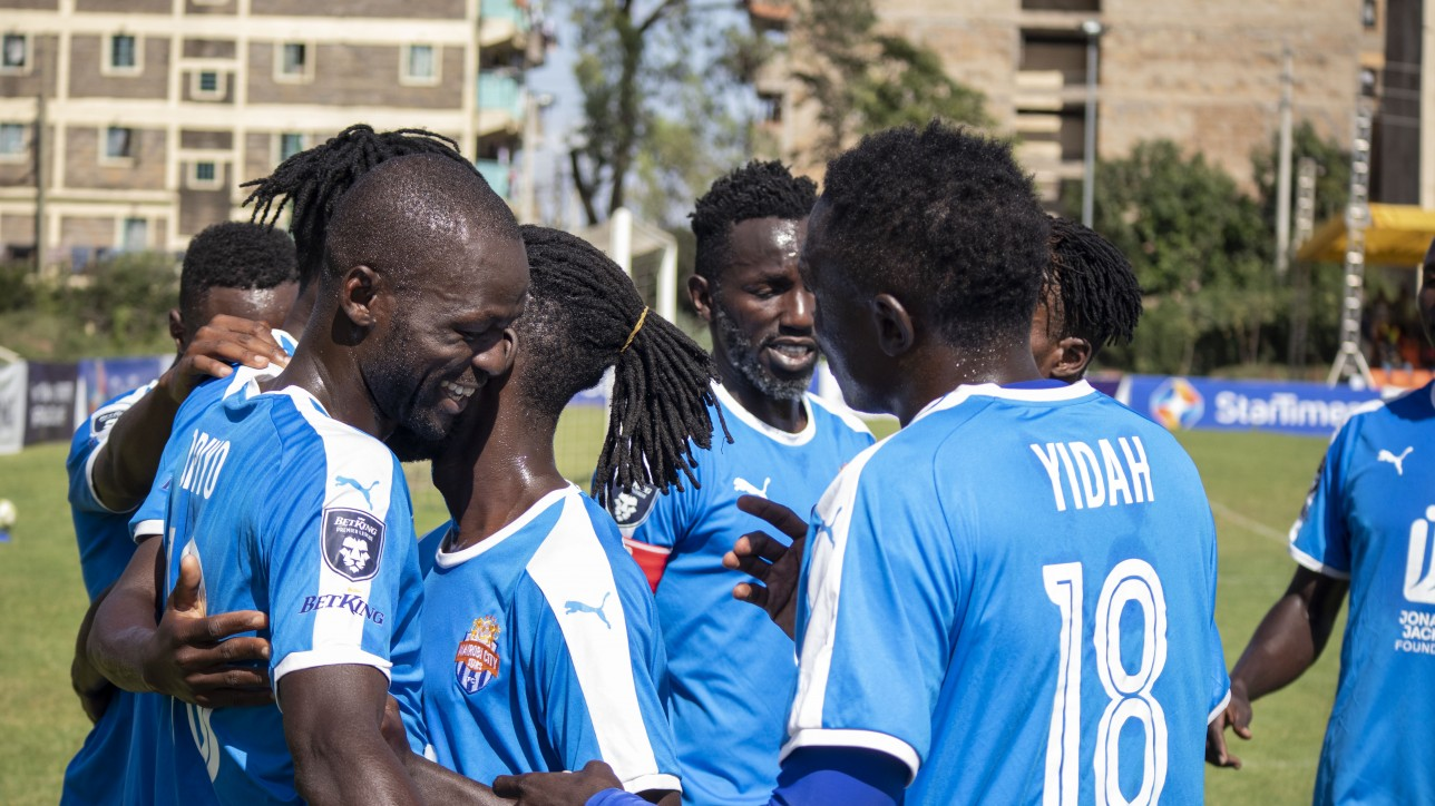 Nairobi City Stars players celebrating a goal in their past game against Ulinzi Stars at Utalii Grounds on Sat 16 Jan 2021. It ended 1-1