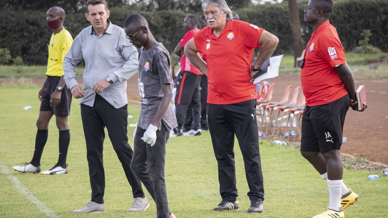 City Stars bench including Nihad Nalbantic (in red) during a Premier League round 8 tie against Ulinzi Stars on Sat 16 Jan 2021. It ended 1-1