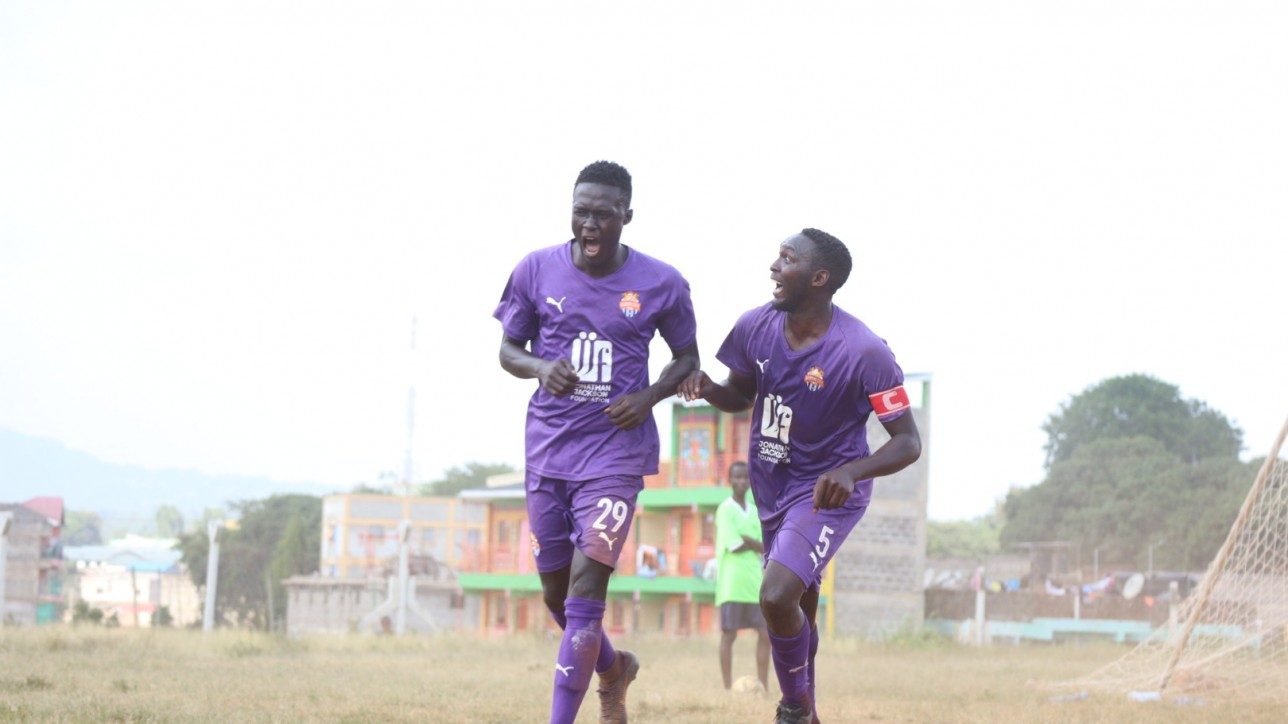 Ebrima Sanneh celebrates one of his two goals for Nairobi City Stars during a 4-1 win over Mutomo Tigers in a round 64 Betway Cup tie at Kitui Stadium on saturday 13 February 2021