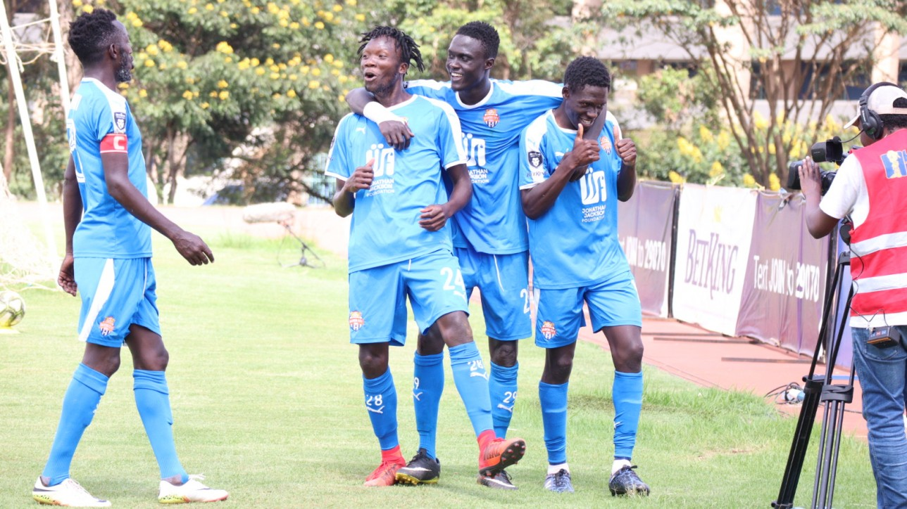 Erick Ombija is congratulated by team mates after scoring the winning goal against Zoo FC on Sat 20 Feb 2021 at Kasarani. Nairobi City Stars  won the game 2-1