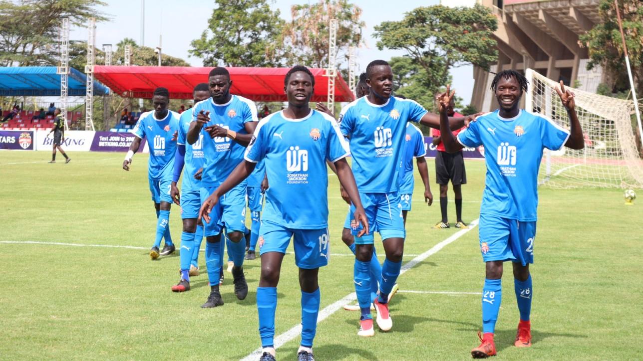 Kevin Okumu (19) and  team mates celebrate after Erick Ombija (24) scored winning goal against Zoo FC on Sat 20 Feb 2021 at Kasarani. City Stars won it 2-1