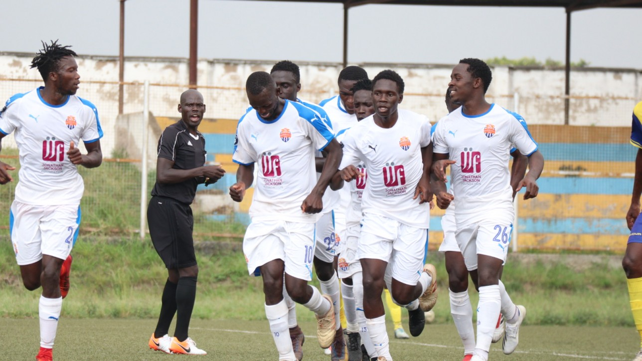 Nairobi City Stars players celebrate a second goal by Peter Opiyo as Simba wa Nairobi beat Western Stima at Moi Stadium on Wed 23 Feb 2021 in a round 13 Premier League game