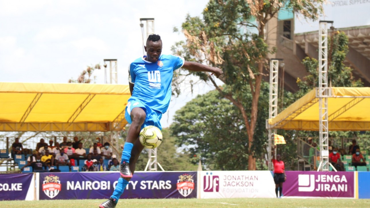 Elvis Noor Ojiambo in a past game against Zoo FC at Kasarani on Sat 20 Feb 2021. Nairobi City Stars won the game 2-1