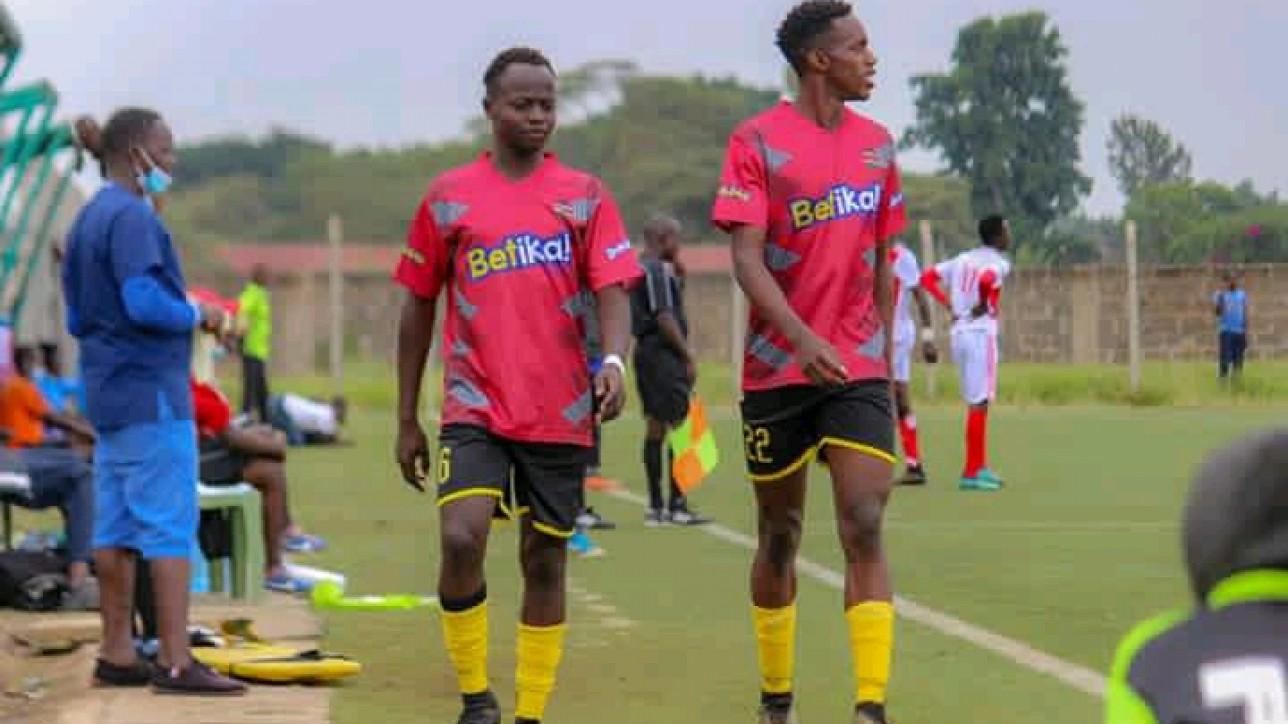 Rowland Makati (6) and Ronney Kola Oyaro (22) at Nairobi Stima on loan. Kola scored once  - hs first goal of the season - as the club hit Silibwet Leons 2-0 on Sat 13 Feb 2021 at Camp Toyoyo