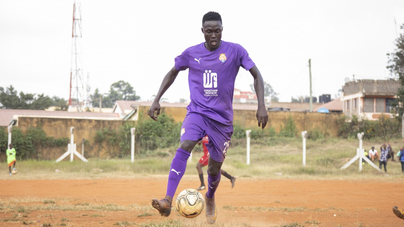 Gambian striker Ebrima Sanneh during a Betway Cup Round 64 game against Mutomo Tigers at Kitui Stadium on Sat 13 Feb 2021. He scored a brace to lead City Stars to a 4-1 win