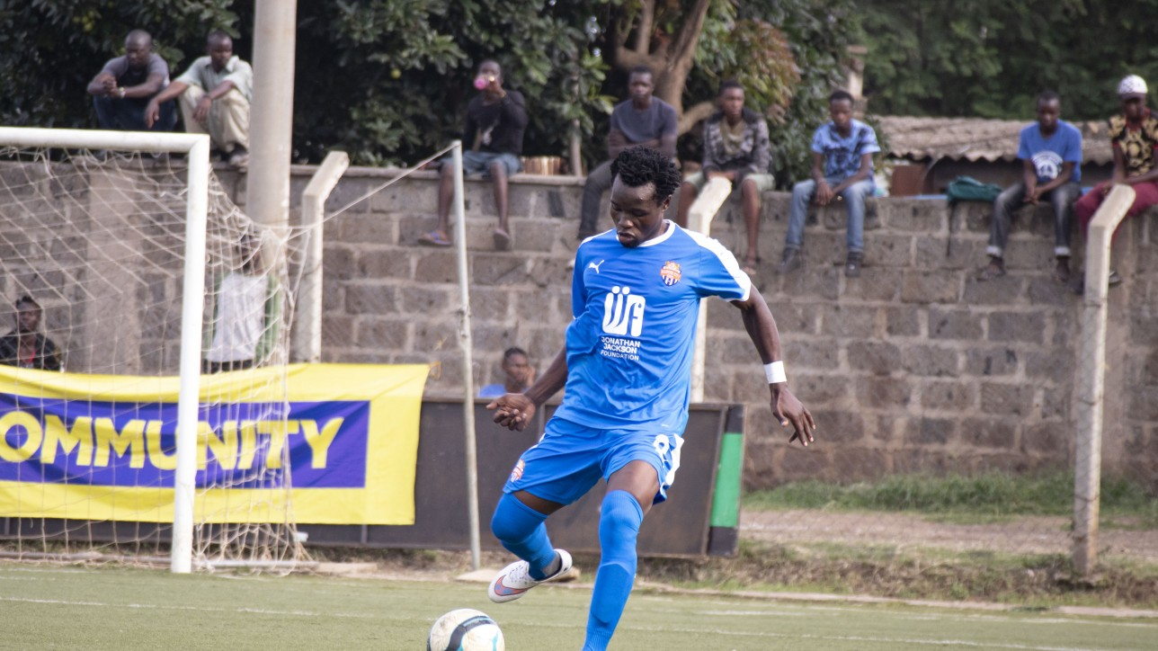 Overall Nairobi City Stars skipper Calvin Masawa in a past game at Camp Toyoyo in Feb 2020