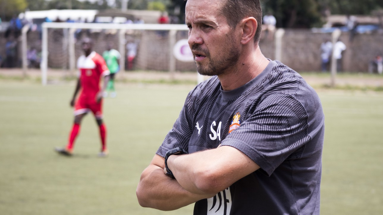 Nairobi City Stars head coach Sanjin Alagic in a past game in the NSL against Kenya Police at Camp Toyoyo on 29 Feb 2019