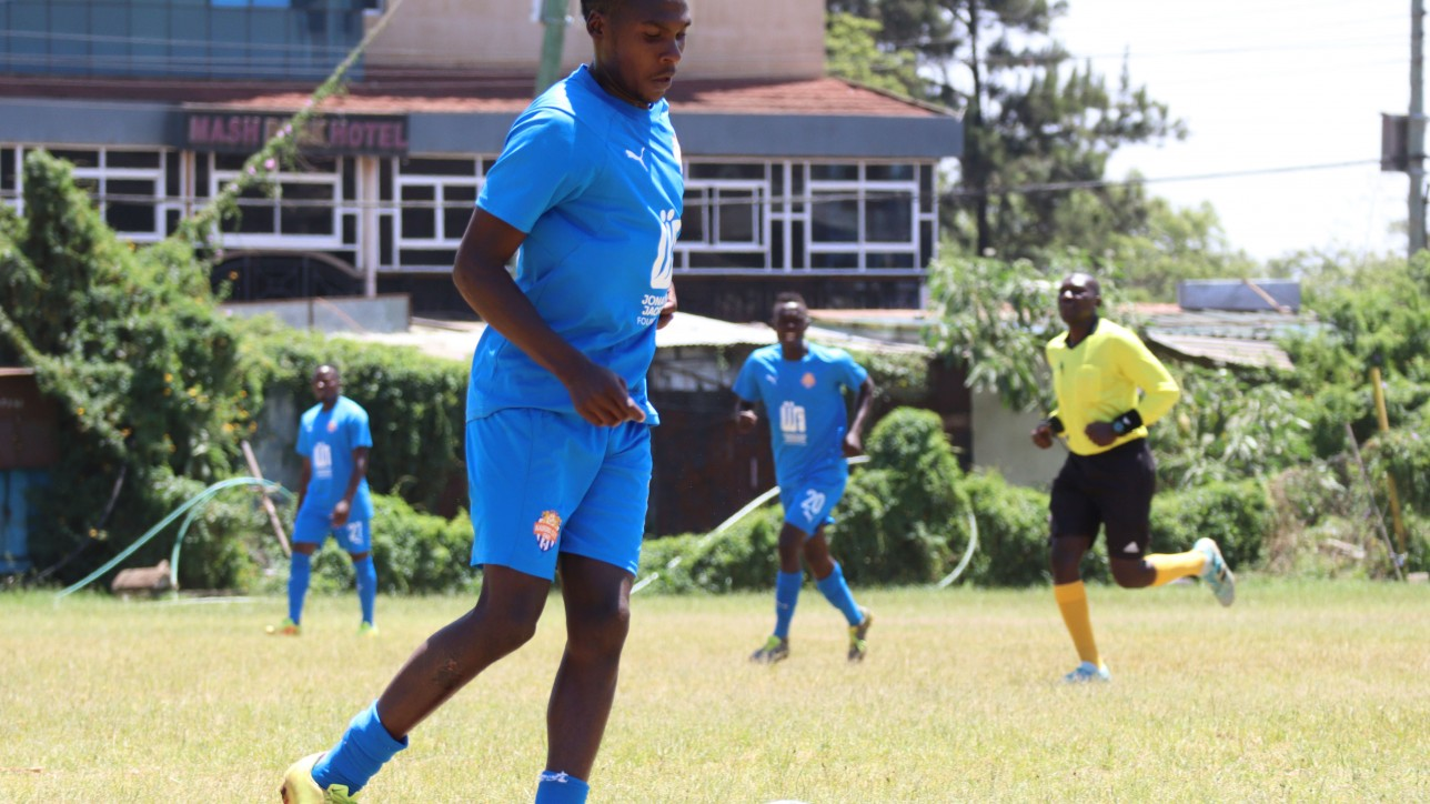 John Kamau during a past friendly game against Kibra United at Ligi Ndogo on Wed 3 February 2021. He scored once as to lead City Stars to a 6-0 win