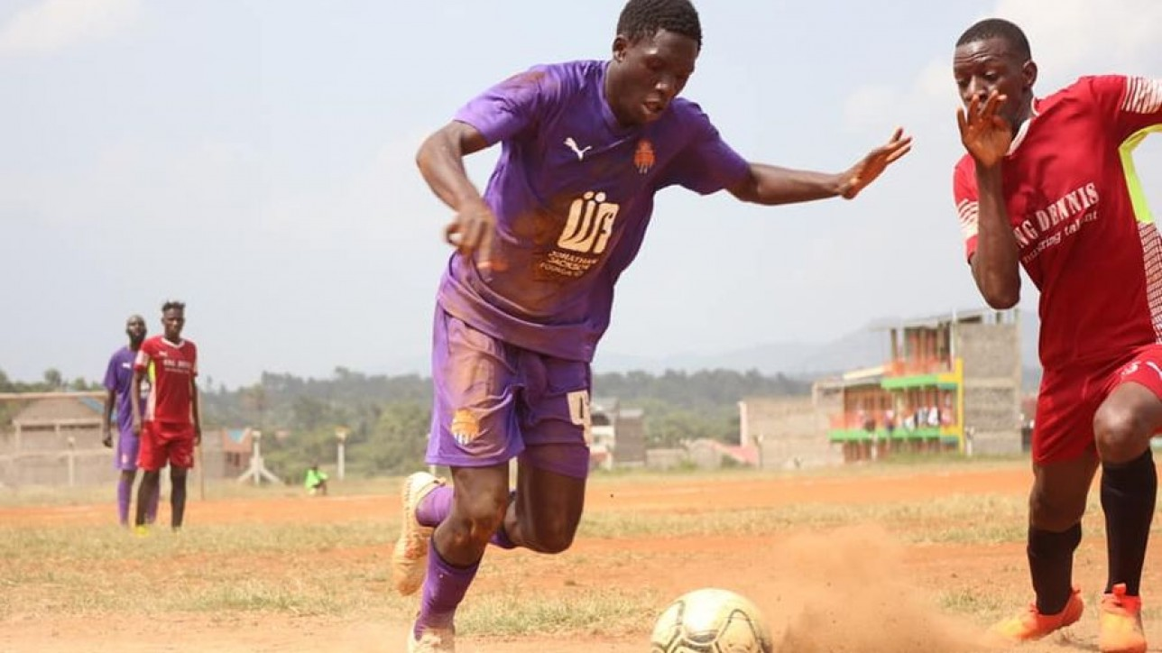 Nairobi City Stars right back Kevin 'Chumsy' Okumu takes on a Mutomo Tigers player during a round 64 Betway Cup clash at Kitui Stadium on Sat 13 Feb 2021. City Stars won the game 4-1