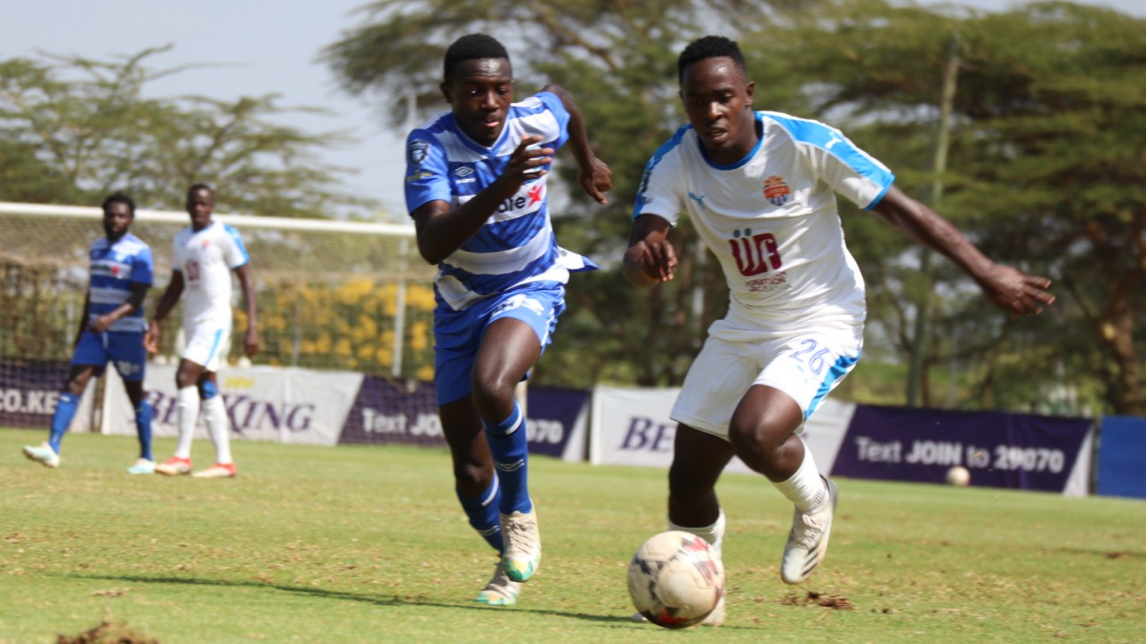 City Stars left back Bolton Omwenga mcontests the ball with AFC Leopards in a round 15 game played on Sat 6 March 2021. Leopards won 1-0