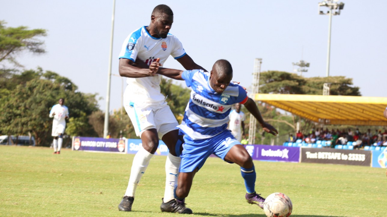 Salim Shitu Abdalla takes on AFC Leopards Isaac Kipyegon in a round 15 Premier League played at KAsarani on Sat 6 Mar 2021. Leopards won the game 1-0