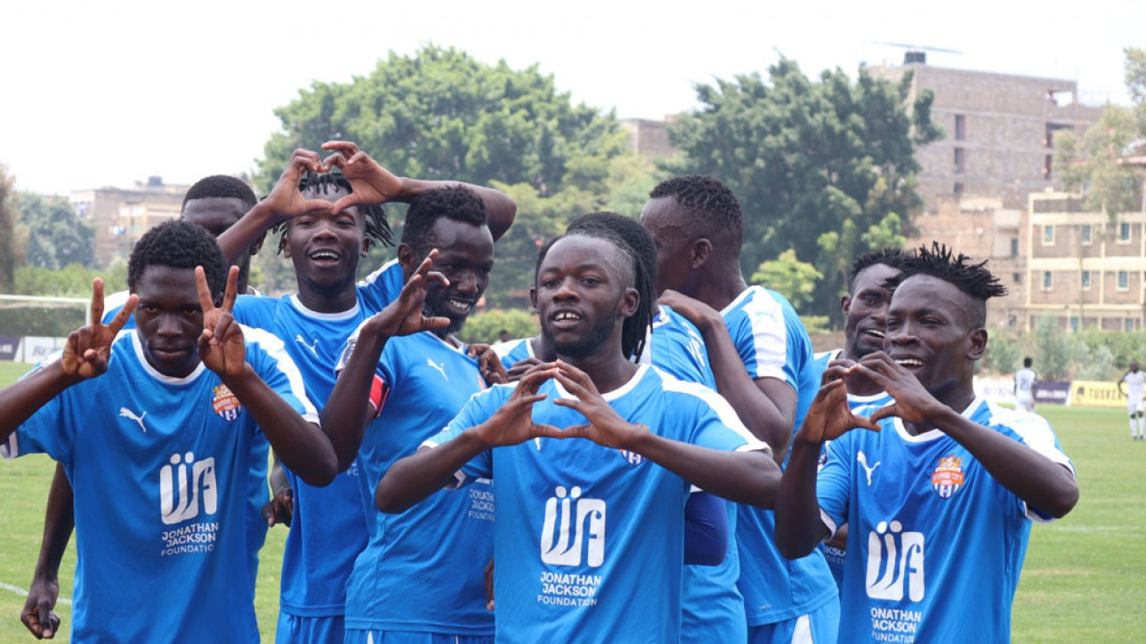 Nairobi City Stars players celebrate one of two Anthony Kimani goals against Tusker at Utalii grounds on Sat 20 Mar 2021. The game ended 2-2