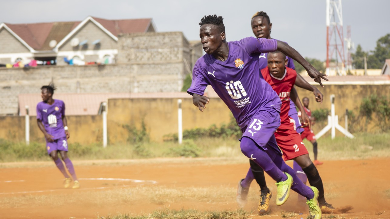 City Stars flyer Rodgers 'Okuse' Okumu in action against Mutomo Tigers at Kitui Stadium on Sat 13 Feb 2021 during a round 64 Betway Cup. City Stars won 4-1