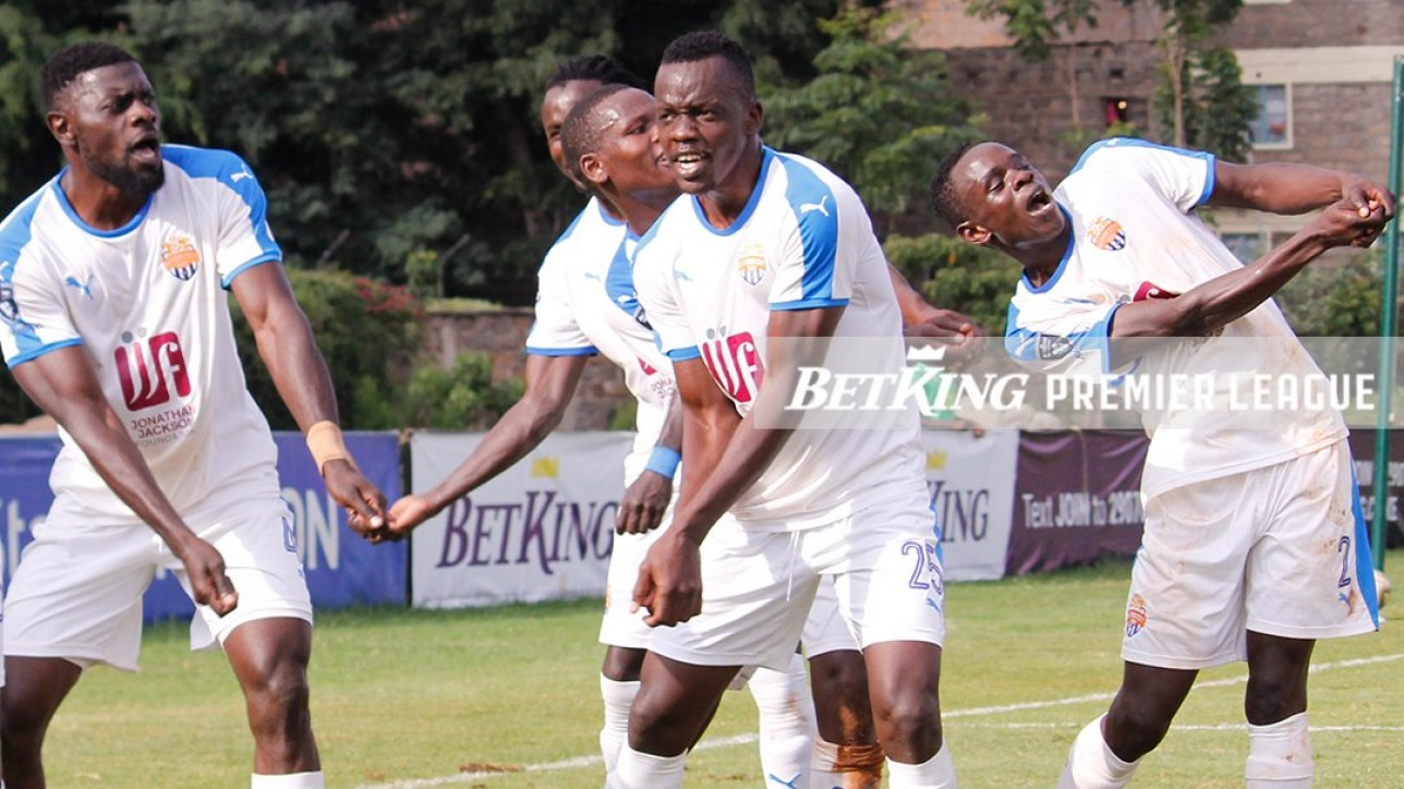City Stars players in celebration mode after scoring one of 2 goals against Kariobangi Sharks at Utalii Grounds on Sat 29 May 2021