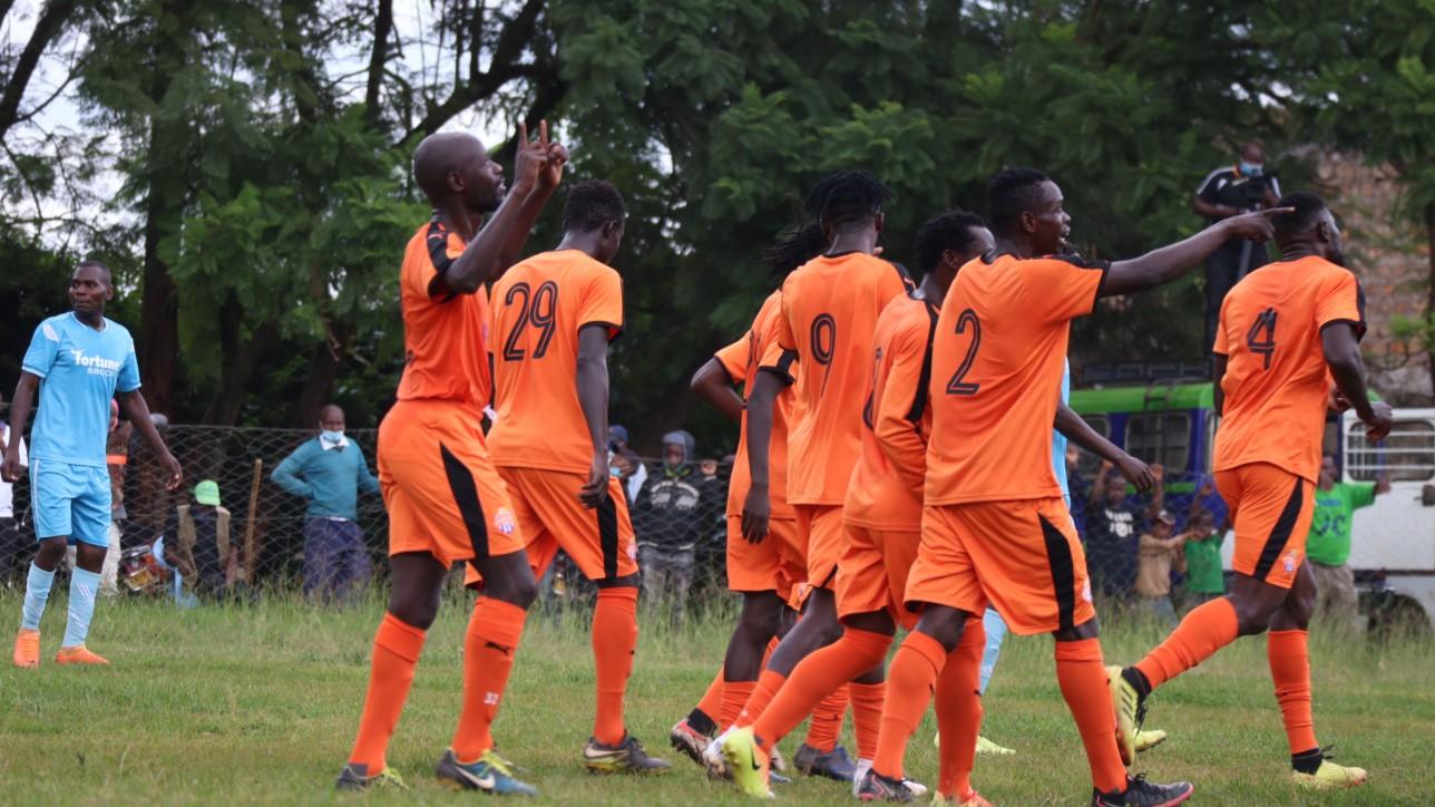 Striker Ezekiel Odera celebrates his lone goal at the Kianyanga Stadium on Tue 1 June 2021 during a Betway Cup round 32 tie. City Stars won the game 1-0