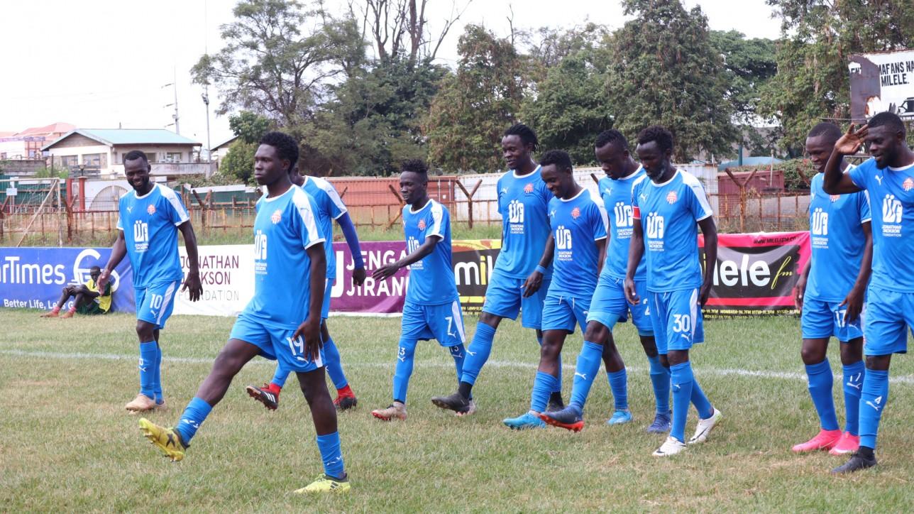 Kevin Okumu leads City Stars parade after Nicholas Kipkirui's opening goal against Ulinzi Stars in a BetWay Cup round of 16 clash at Ruaraka on Sun 6 June 2021. City Stars won 2-0