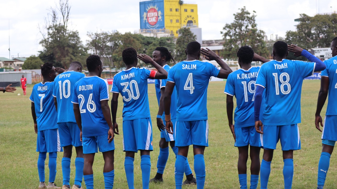 Davis Agesa takes a 'guard' of honor after scoring City Stars' second goal against Ulinzi Stars in a BetWay Cup round of 16 clash at Ruaraka on Sun 6 June 2021. City Stars won 2-0