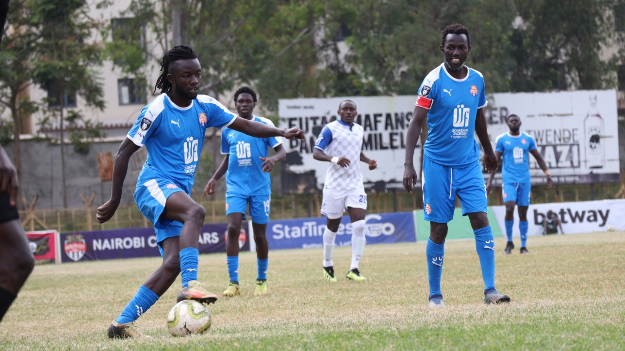 Oliver Maloba on the ball against Bidco in the quarters of Betway Cup on Thur 10 June 2021 at Ruaraka grounds. Bidco United won 1-0
