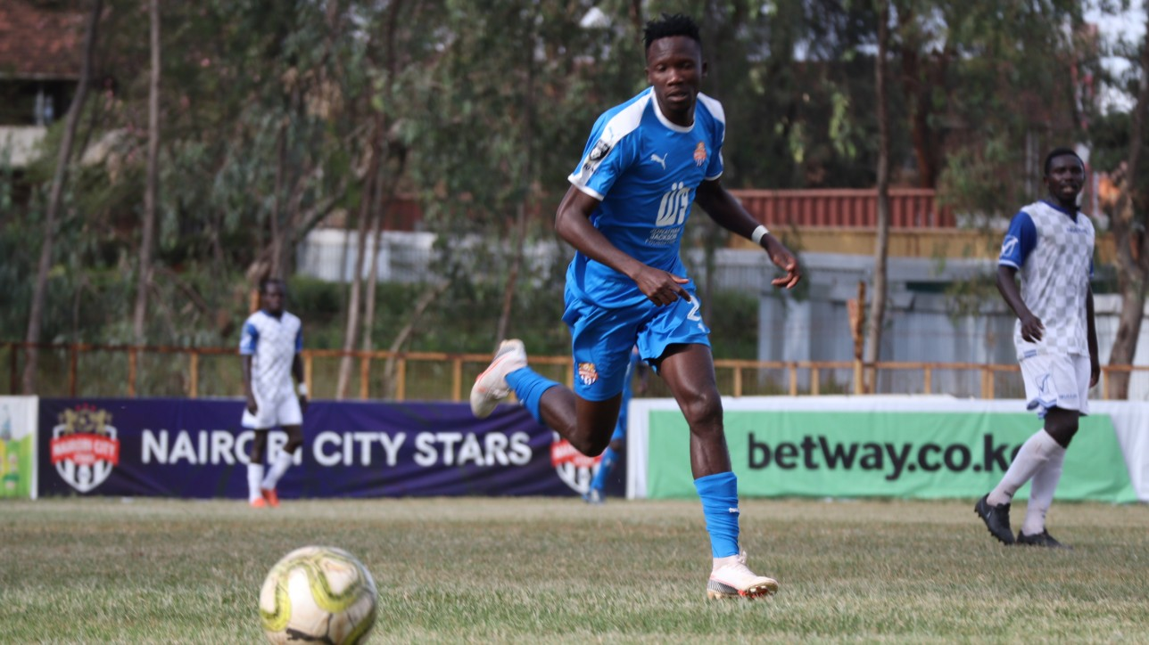 Erick Ombija in action recently against Bidco United in the quarters of the Betway Cup at Ruaraka on 10 June 2021. City Stars lost 1-0