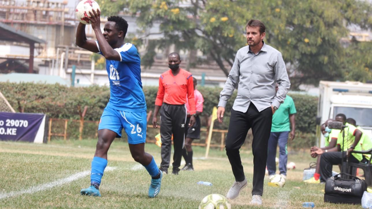 Bolton Omwenga onto a throwin against Western Stima on Tue 15 June 2021 at Ruaraka. City Stars won the game 2-1
