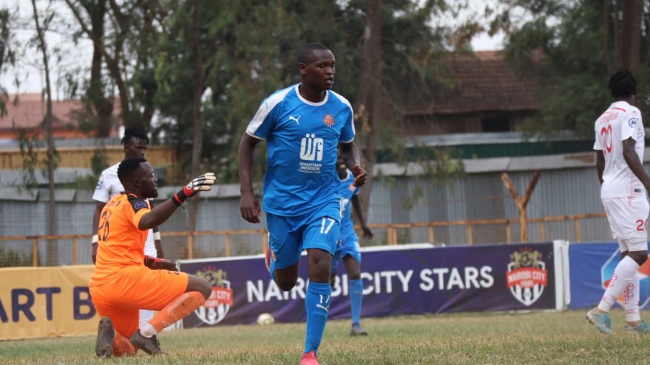Nicholas Kipkirui celebrating his first-ever premier league goal for Nairobi City Stars. It earned Simba wa Nairobi a 1-0 win over Kakamega Homeboyz on Sat 19 June 2021 at Ruaraka during a matchday 21 tie